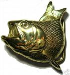 FISH - SOLID BRASS Belt Buckle + display stand. Code HM8